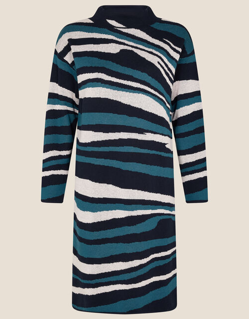 Willow Wave Knit Dress, Blue (NAVY), large