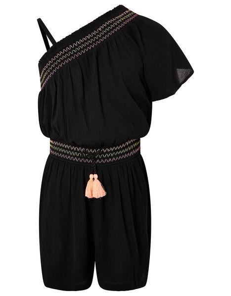 One-Shoulder Playsuit in Recycled Viscose Black, Black (BLACK), large