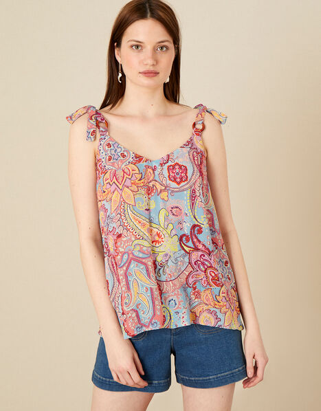 Paisley Print Cami in LENZING™ ECOVERO™ Blue, Blue (BLUE), large