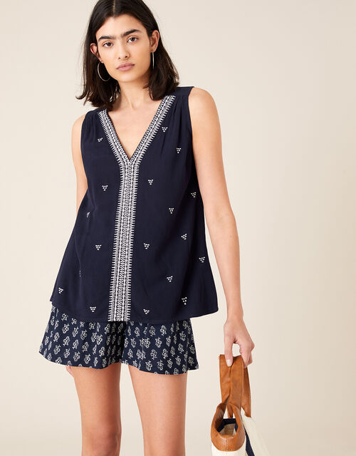 Embroidered Tank Top in LENZING™ ECOVERO™, Blue (NAVY), large
