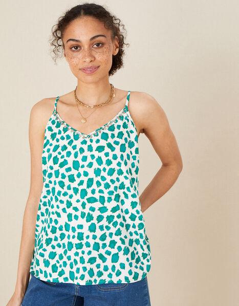 Animal Print Cami in LENZING™ ECOVERO™ Green, Green (GREEN), large