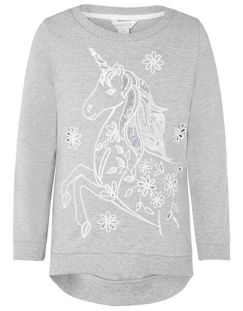 Sequin Broderie Unicorn Sweatshirt, Grey (GREY), large