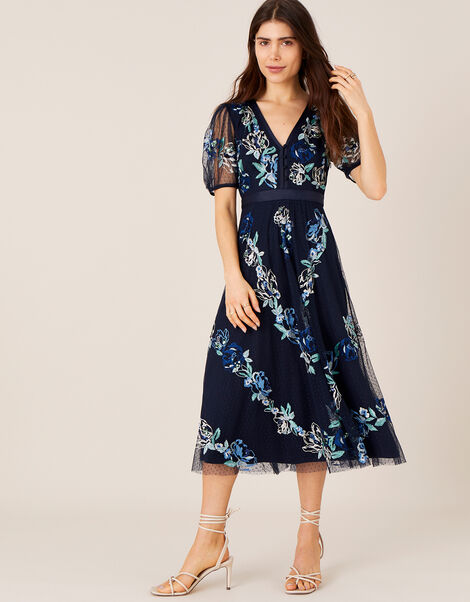 Oma Embroidered Midi Dress Blue, Blue (NAVY), large