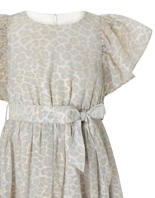 Alanis Animal Flutter Sleeve Dress, Grey (GREY), large