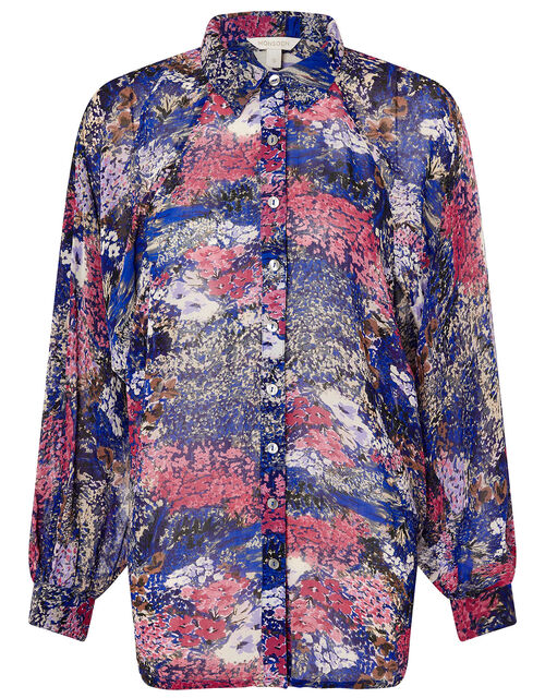 Printed Dolman Sleeve Shirt, Blue (NAVY), large