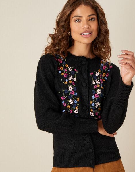 Embroidered Flower Cardigan Black, Black (BLACK), large