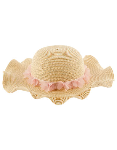 Baby Macaroon Butterfly Floppy Hat  Natural, Natural (NATURAL), large