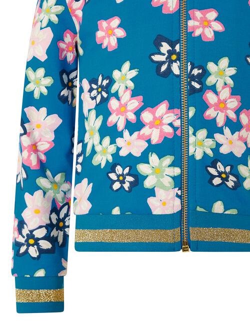 Bold Floral Bomber Jacket, Blue (BLUE), large