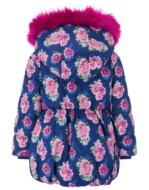 Baby Rose Print Hooded Coat, Blue (NAVY), large