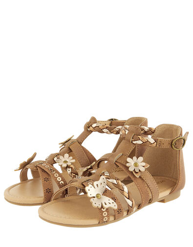 Butterfly Strappy Sandals Tan, Tan (TAN), large