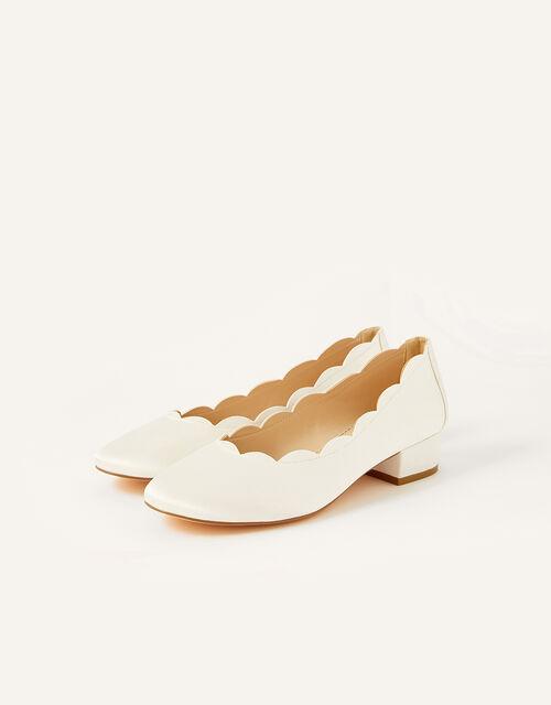 Sasha Scallop Edge Bridal Shoe, Ivory (IVORY), large