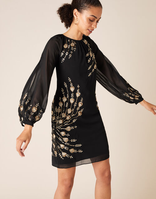 Faye Sequin Feather Tunic Dress, Black (BLACK), large