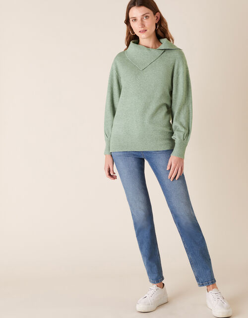 Split Neck Knit Jumper, Green (GREEN), large