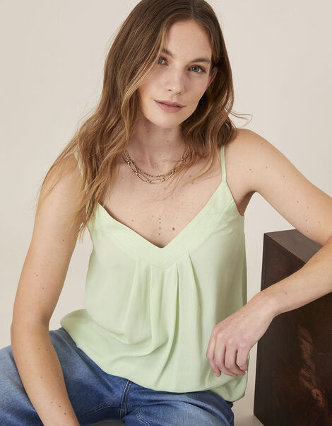 Pleated Trim Cami with Sustainable Viscose Green, Green (GREEN), large
