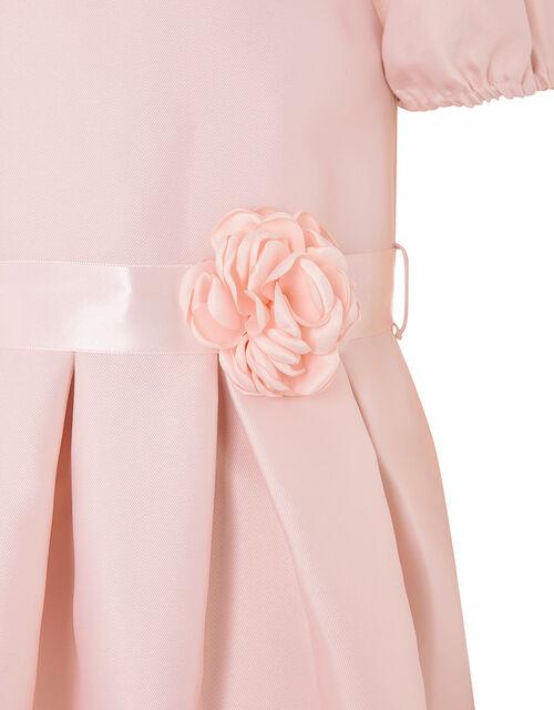 Corsage Belt Puff Sleeve Dress, Pink (PINK), large