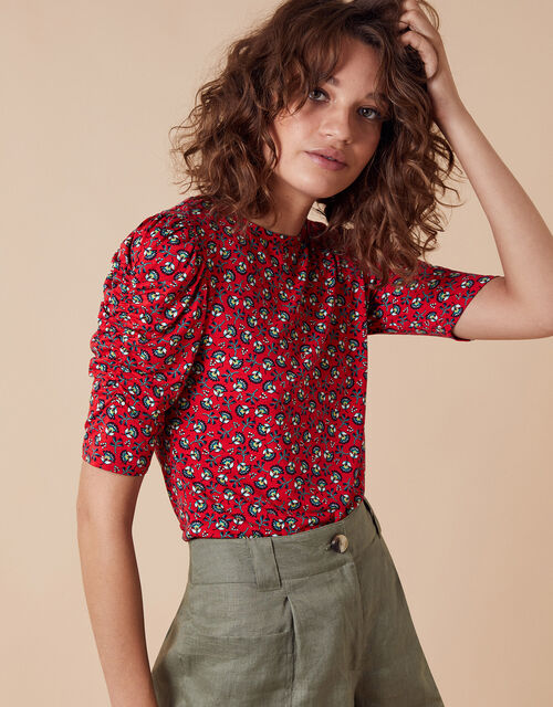 Printed Jersey Puff Sleeve Top, Red (RED), large