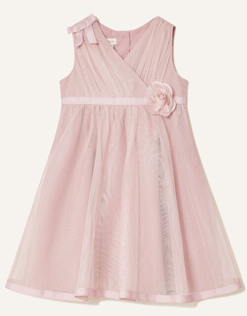 Baby Corsage Wrap Dress, Pink (DUSKY PINK), large