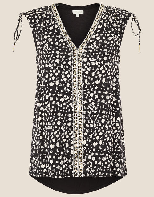 Animal Print Sleeveless Top, Black (BLACK), large