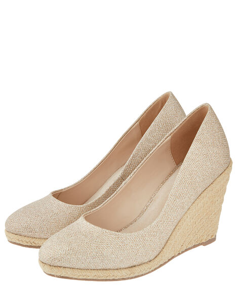 Ella Metallic Espadrille Wedges Gold, Gold (GOLD), large