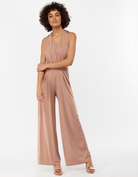 Taylor Twist Me Tie Me Bridesmaid Jumpsuit Pink, Pink (PINK), large