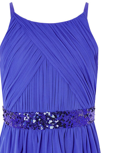 Chiffon Hanky Hem Prom Dress, Blue (BLUE), large
