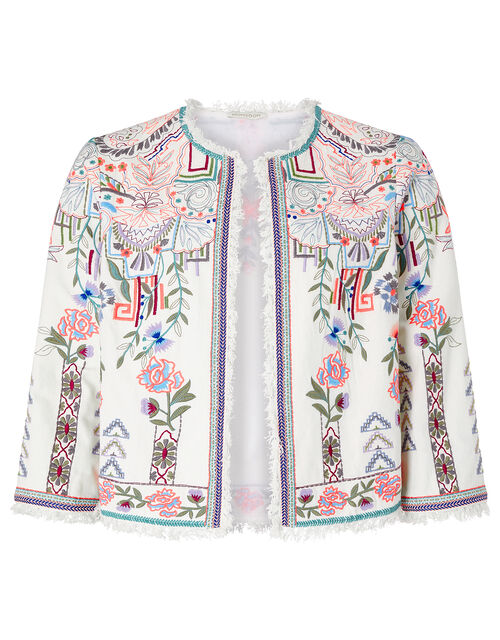 Embroidered Jacket in Organic Cotton, Ivory (IVORY), large