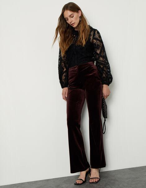 Bella Velvet Bootleg Trousers Brown, Brown (CHOCOLATE), large