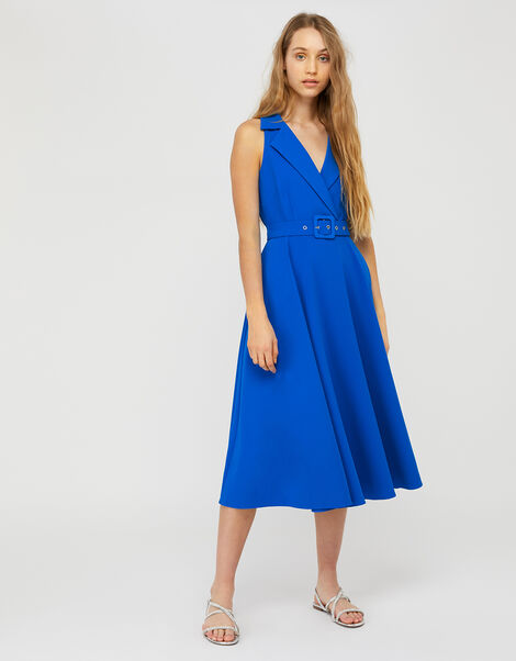 Isla Structured Midi Dress with Belt Blue, Blue (BLUE), large