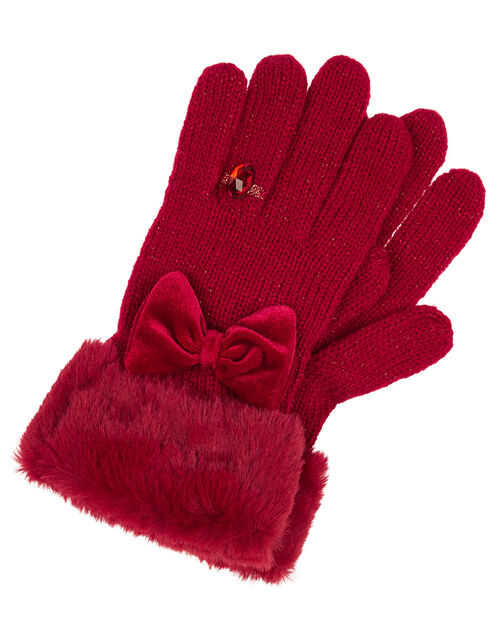 Bow Diamond Ring Knit Gloves, Red (RED), large