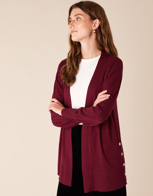 Star Stud Knit Cardigan, Red (BERRY), large