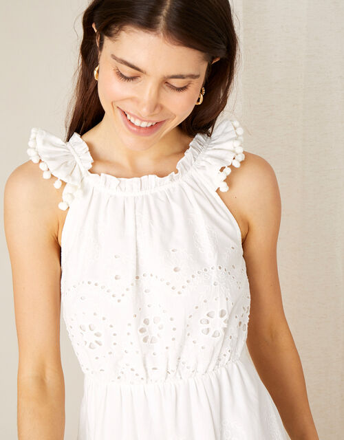 Schiffli Dress with Organic Cotton , White (WHITE), large