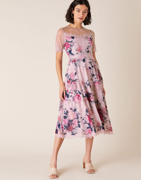 Millicent Floral Print and Lace Dress Nude, Nude (NUDE), large