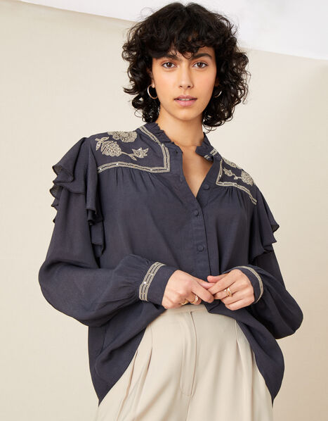 Victorian Embroidered Blouse Grey, Grey (CHARCOAL), large
