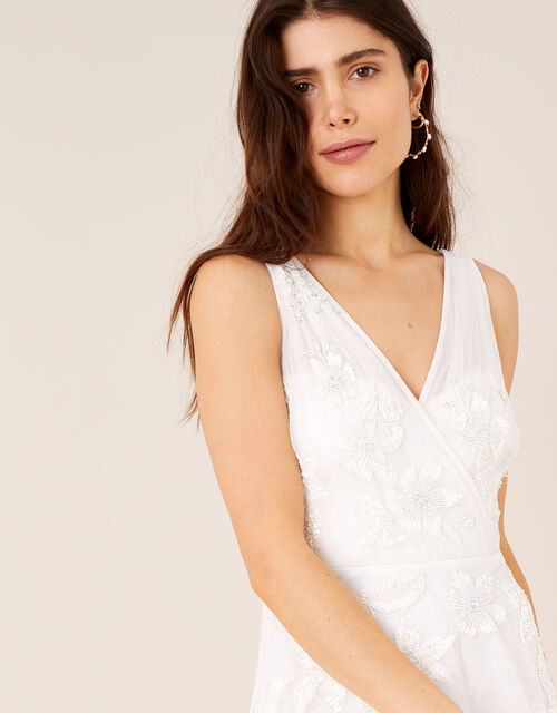 Lucy Floral Embroidered Bridal Dress, Ivory (IVORY), large