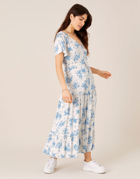 Floral Midi Dress in LENZING™ ECOVERO™ Ivory, Ivory (IVORY), large