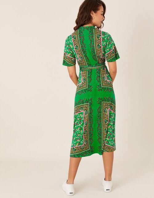 Raegan Heritage Print Wrap Dress, Green (GREEN), large