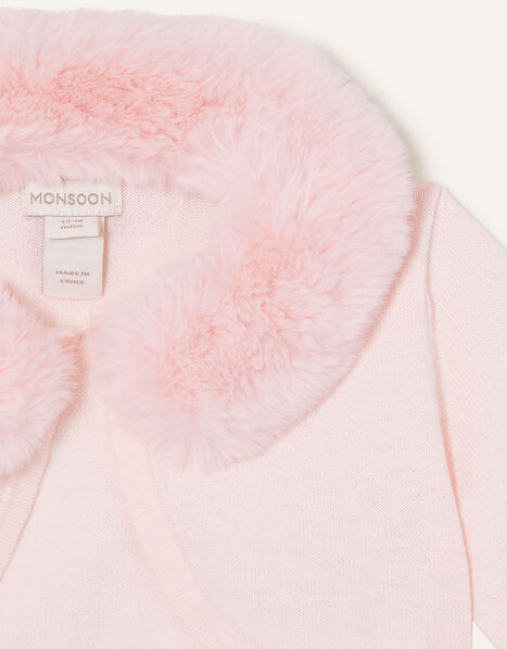 Baby Fluffy Collar Super-Soft Cardigan Pink, Pink (PINK), large