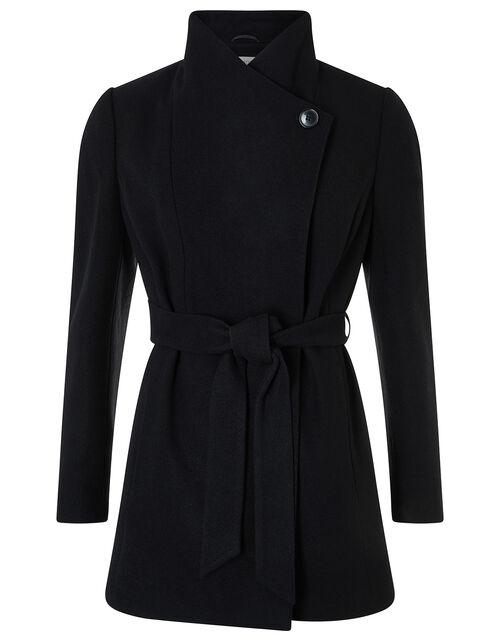 Rita Wrap Collar Coat Short, Black, large