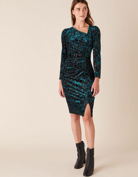 Sadie Animal Star Stretch Velvet Dress Teal, Teal (TEAL), large