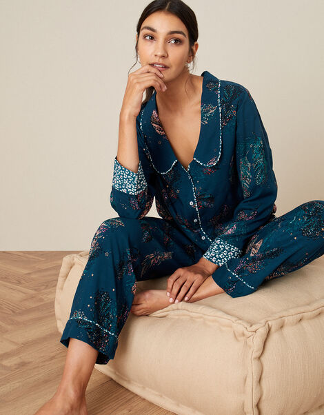 Feather Print Pyjama Set in Sustainable Viscose Teal, Teal (TEAL), large