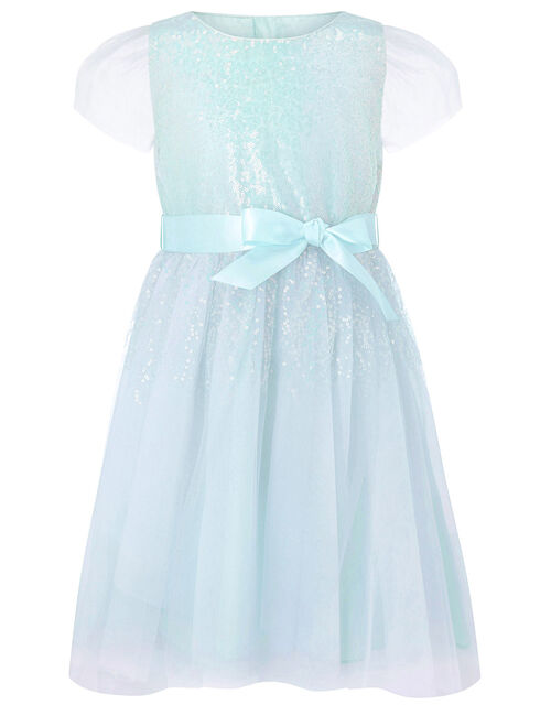 Sequin Shimmer Dress, Blue (PALE BLUE), large