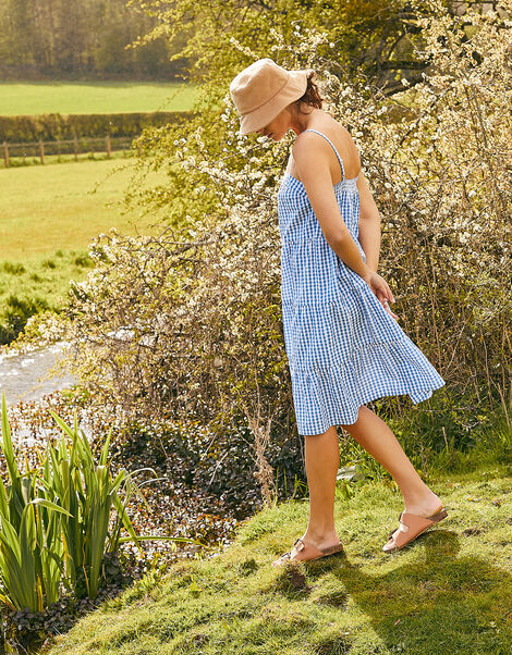 Gingham Dress in Pure Cotton Blue, Blue (BLUE), large