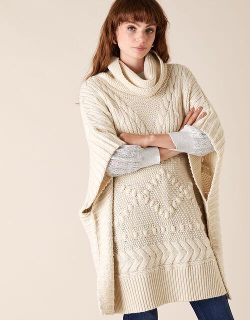 Chunky Knit Poncho, , large