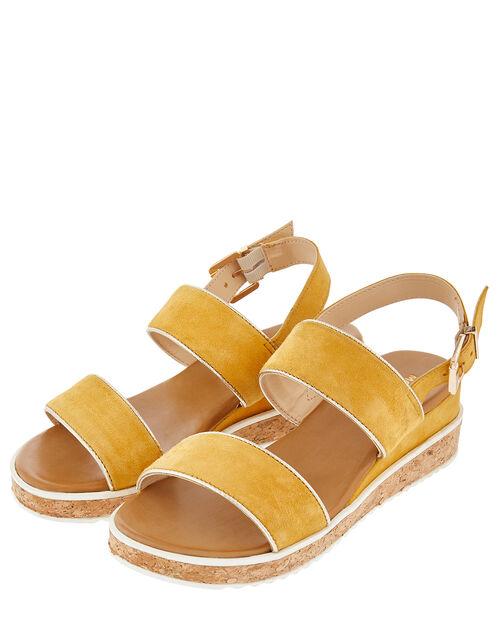Frida Cork Flatform Sandals, Yellow (OCHRE), large