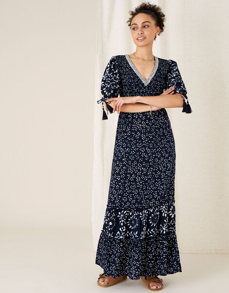 Contrast Print Tiered Dress Blue, Blue (NAVY), large