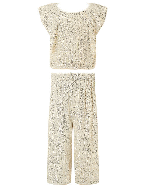 Sequin Top and Culottes Set, Natural (CHAMPAGNE), large