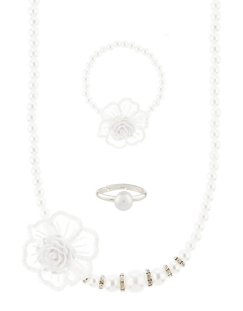 Frosted Rose Pearl Jewellery Set, , large
