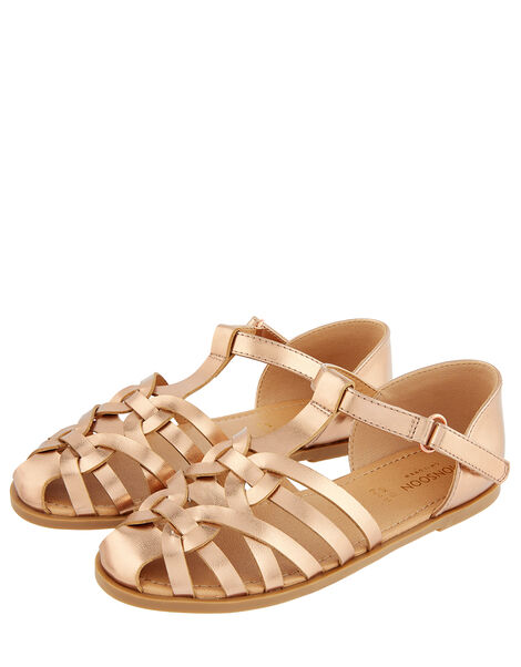 Rose Gold Caged Sandals Gold, Gold (ROSE GOLD), large