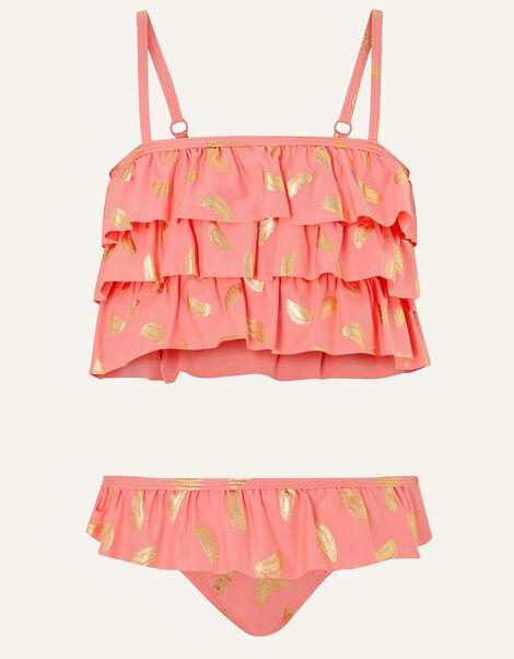Watermelon Foil Frill Bikini Set Orange, Orange (CORAL), large