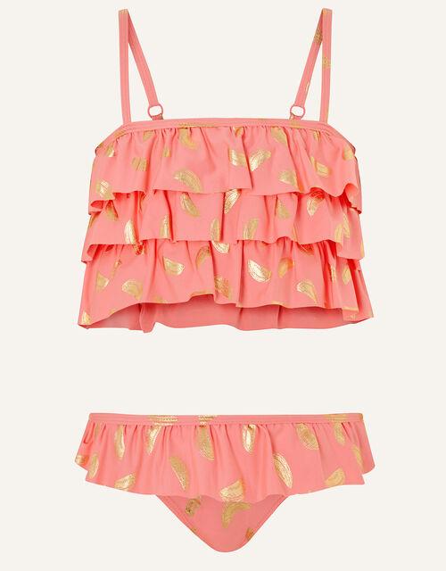 Watermelon Foil Frill Bikini Set, Orange (CORAL), large